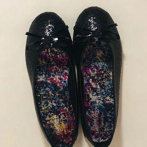 Black glitter flats